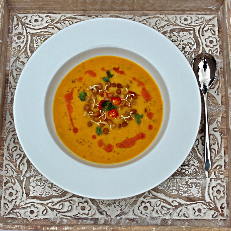 Spicy Spring Carrot Soup with Garnish