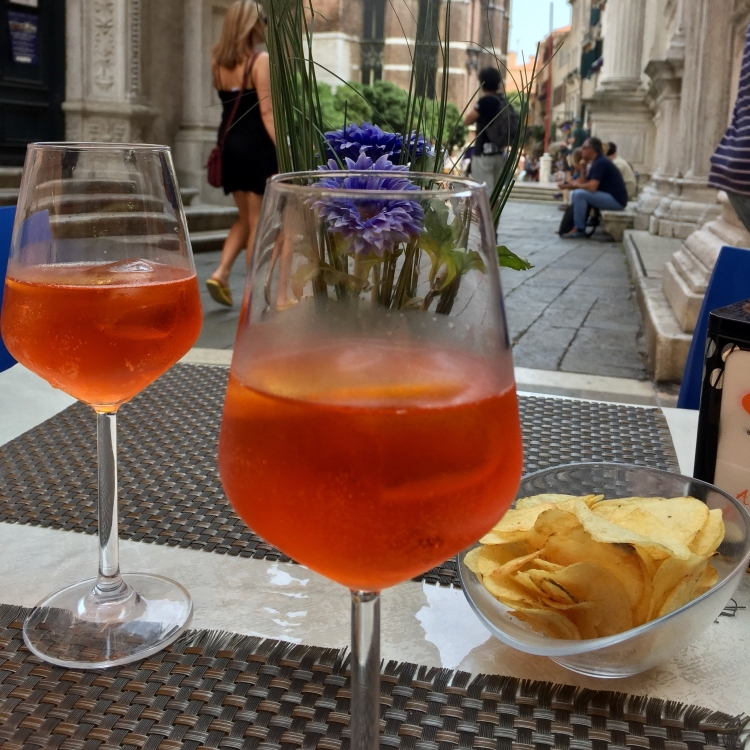 Italian Aperol Spritz in the sun