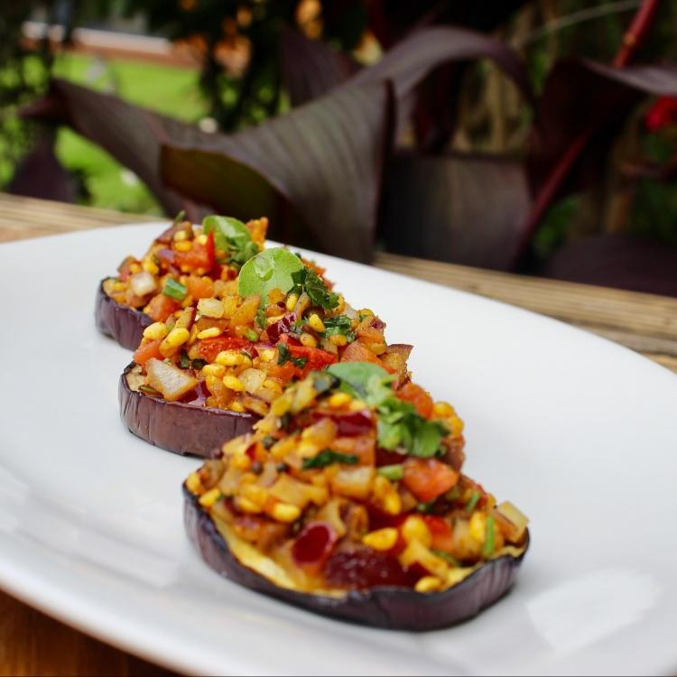 Gluten Free & Healthy Spicy Aubergine Bruschetta