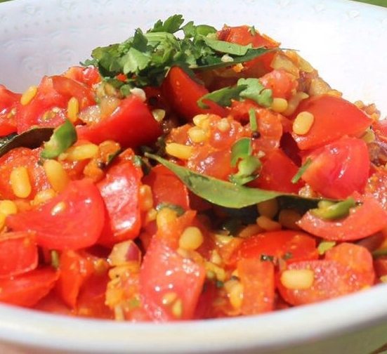 Summer Spiced Lentil and Tomato Bruchetta Topping