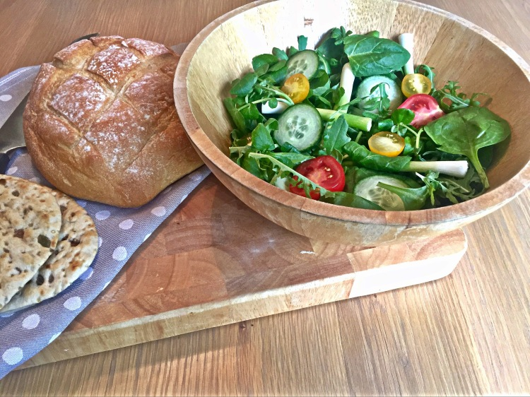 Crusty Bread and Summer Leaf Salad with cucumber and tomatoes