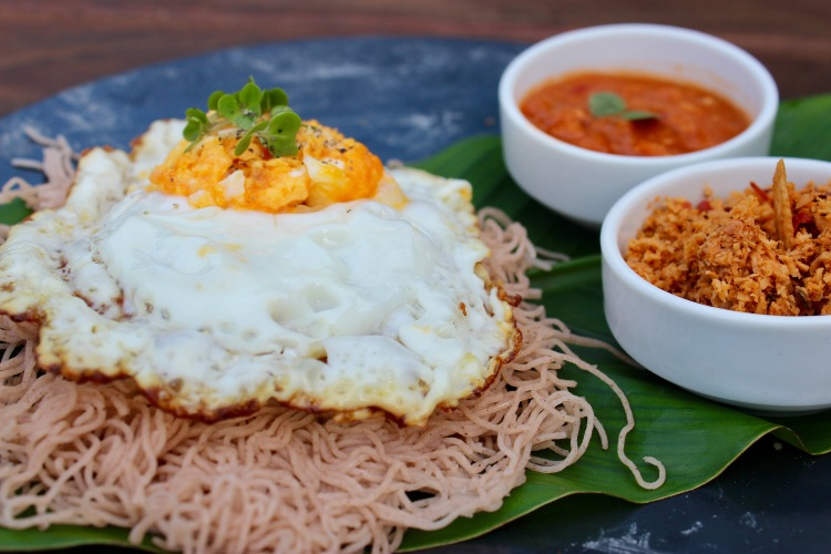 Sri Lankan String Hoppers with Egg and coconut chutney